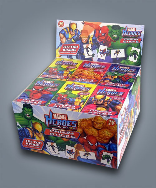 Marvel Heroes Candy Sticks with Tattoo, caramelle con tattoo temporaneo