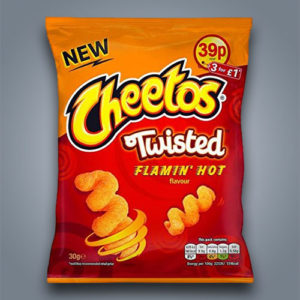 Patatine di mais piccanti Cheetos Twisted Flamin Hot