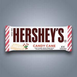 Hershey's Candy Cane bar, tavoletta di cioccolato bianco con pezzettini di bastoncino di zucchero alla menta