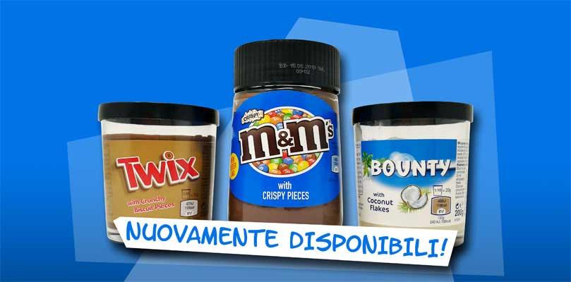 Creme spalmabili Twix, Bounty M&M's