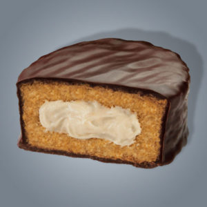 Caramel Ding Dongs, merendina al cioccolato e pan di spagna con ripieno di crema al caramello